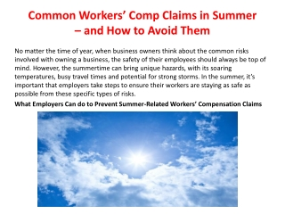 Common Workers' Comp Claims in Summer – and How to Avoid Them