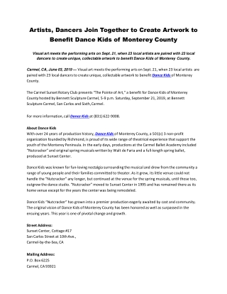 Artists, Dancers Join Together to Create Artwork to Benefit Dance Kids of Monterey County