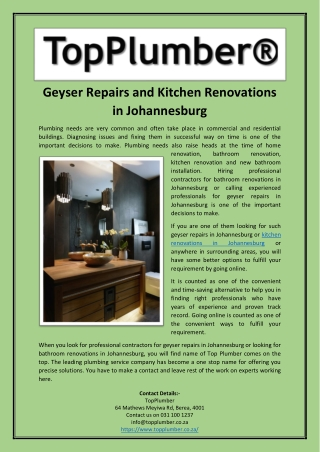 Geyser Repairs and Kitchen Renovations in Johannesburg