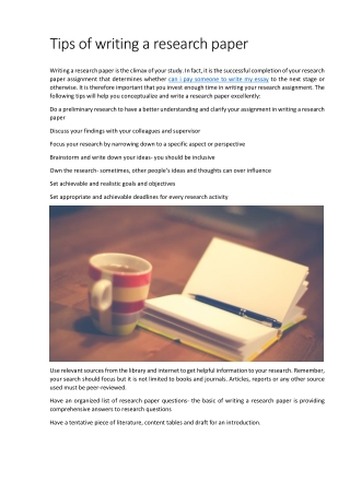 Tips of writing a research paper