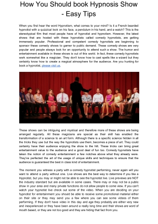 How You Should book Hypnosis Show - Easy Tips