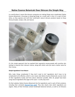 Native Essence Botanicals Does Skincare the Simple Way
