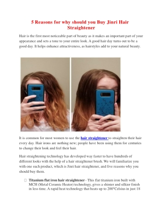 5 Reasons for why should you Buy Jinri Hair Straightener