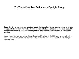 Try These Exercises To Improve Eyesight Easily