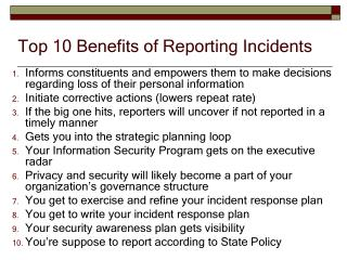 Top 10 Benefits of Reporting Incidents