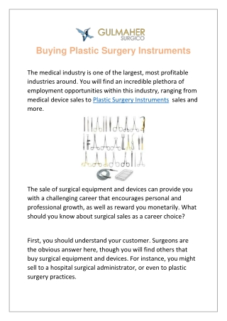 Buying Plastic Surgery Instruments