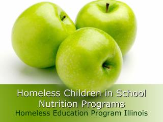 Homeless Children in School Nutrition Programs