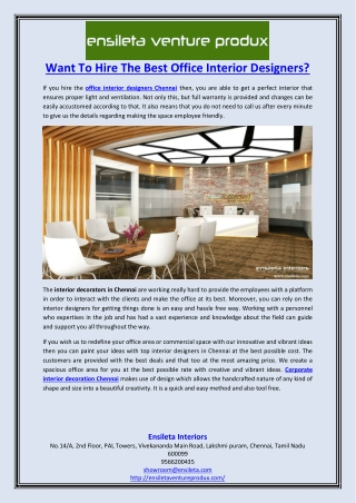 Want To Hire The Best Office Interior Designers?
