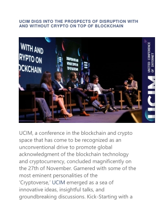 UCIM DIGS INTO THE PROSPECTS OF DISRUPTION WITH AND WITHOUT CRYPTO ON TOP OF BLOCKCHAIN