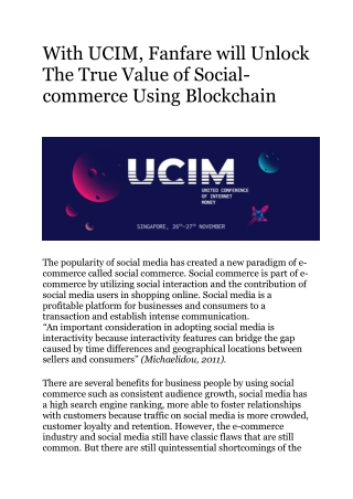 With UCIM, Fanfare will Unlock The True Value of Social-commerce Using Blockchain