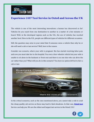 Experience 24X7 Taxi Service in Oxted and Across the UK