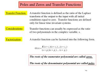 Poles and Zeros and Transfer Functions