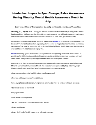 Interim Inc. Hopes to Spur Change, Raise Awareness During Minority Mental Health Awareness Month in July