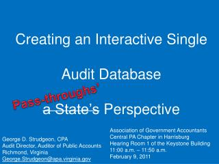 Creating an Interactive Single   Audit Database  a State s Perspective
