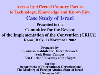 Access by Affected Country Parties to Technology, Knowledge and Know-How Case Study of Israel