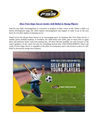 How First Steps Soccer incites Self-Belief in Young Players?
