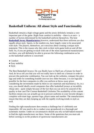 Basketball Uniform: All about Style and Functionality