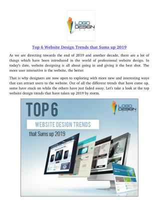 Top 6 Website Design Trends that Sums up 2019