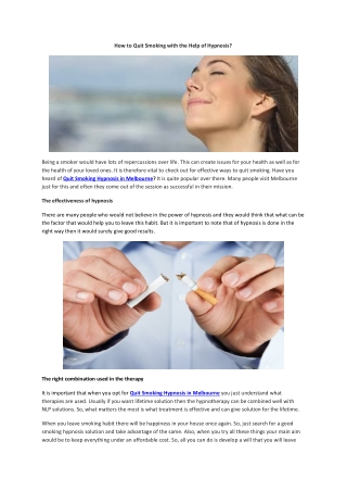 How to Quit Smoking with the Help of Hypnosis?