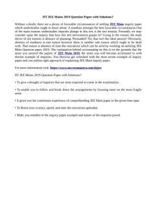 IIT JEE Mains 2019 Question Paper with Solutions