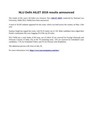 NLU Delhi AILET 2019 results announced