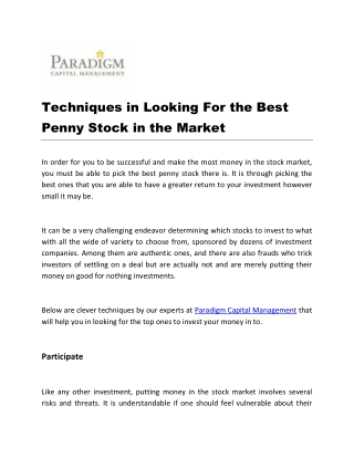 Techniques in Looking For the Best Penny Stock in the Market