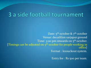 Decathlon 3-a-side tourney