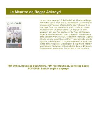 [PDF] Le Meurtre de Roger Ackroyd #FULL ONLINE