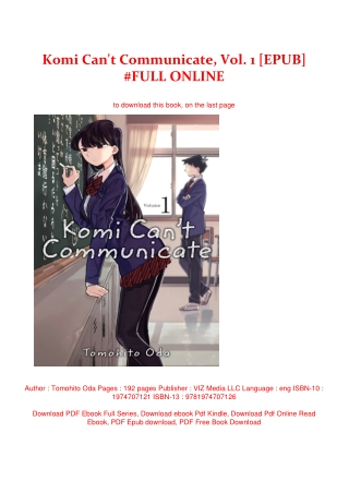 Komi Can't Communicate, Vol. 1 [EPUB] #FULL ONLINE