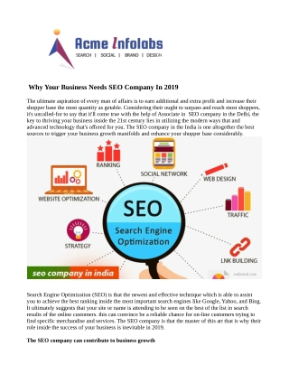 Seo Company in India | Seo Company in Delhi | Acme Infolabs