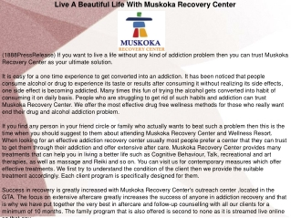 Live A Beautiful Life With Muskoka Recovery Center