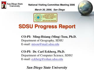 SDSU Progress Report