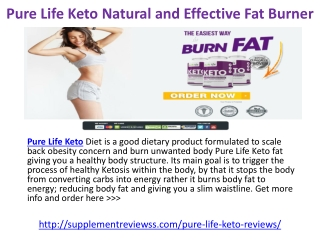 Pure Life Keto Diet Pills Natural and Effective Fat Burner