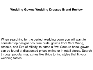 Wedding Gowns Wedding Dresses Brand Review