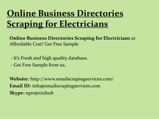 Online Business Directories Scraping for Electricians