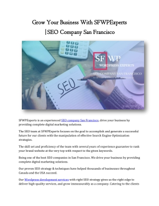 Grow Your Business With SFWPExperts |SEO Company San Francisco