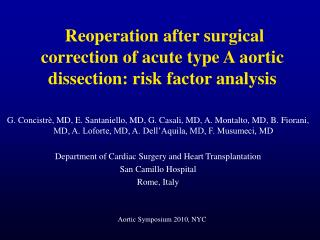 Reoperation after surgical correction of acute type A aortic dissection: risk factor analysis