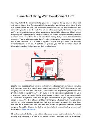 Benefits of Hiring Web Development Firm