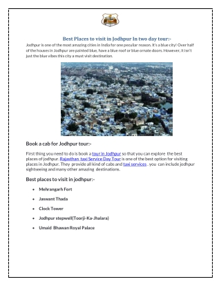 Best Places to visit in Jodhpur In two day tour