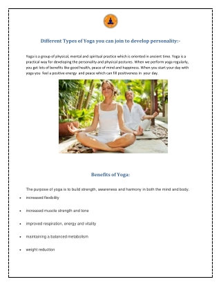 Different Types of Yoga you can join to develop personality