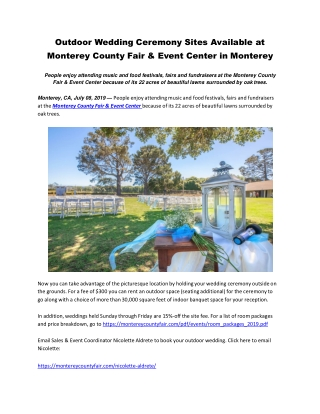 Outdoor Wedding Ceremony Sites Available at Monterey County Fair & Event Center