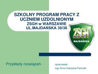 SZKOLNY PROGRAM PRACY Z UCZNIEM UZDOLNIONYM  ZSGH w WARSZAWIE  UL.MAJDAŃSKA 30/36