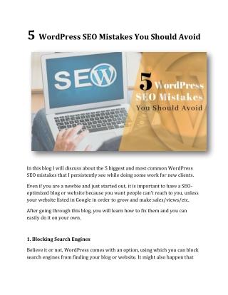 5 WordPress SEO Mistakes You Should Avoid