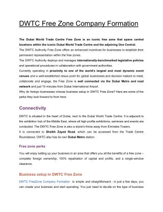 DWTC Free Zone Company Formation