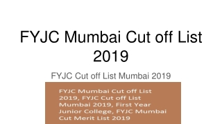 FYJC Mumbai Cut off List 2019