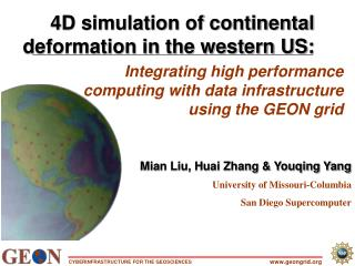 Integrating high performance computing with data infrastructure using the GEON grid