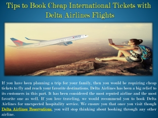 Tips to Book Cheap International Tickets with Delta Airlines Flights