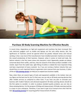 Purchase 3D Body Scanning Machine for Effective Results