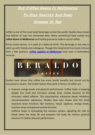 Buy Coffee Beans In Melbourne To Stay Healthy And Keep Disease At Bay