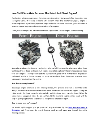 How To Differentiate Between The Petrol And Diesel Engine?